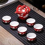 Candicely Juego de Té Tetera de cerámica Set Copas Estilo japonés de la Tetera bellamente Excelente Decoración Regalo for Acción de Gracias (Color : Red, Size : Free Size)