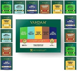 VAHDAM, Detox Tea Sampler, 5 TEAS - Tea Variety Pack   20 Detox Tea Bags   Anti-Oxidant & Flavonoids Rich Teas for Everyda...