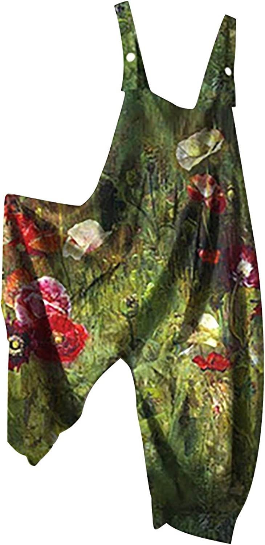 Women Summer Loose Cold Shoulder Jumpsuit Ethnic Style Retro Print Button Halter Suspender Cami Pants Jumpsuits