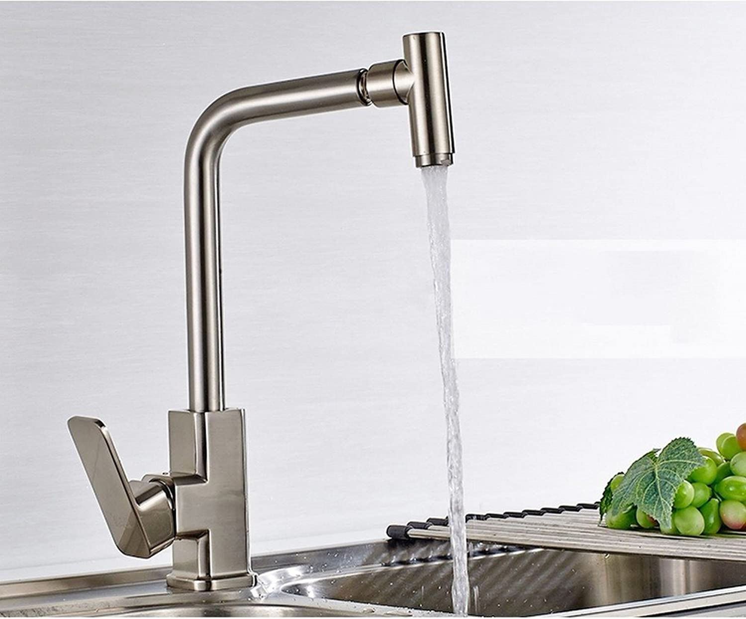 Rmckuva Kitchen Sink Taps Kitchen Faucet Modern 360 ° Swivel Kitchen Sink And Basin Single Handle Blender Brass Mixer Brushed Curled Stainless Steel Ss304