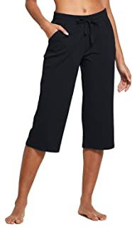 BALEAF Women's Active Yoga Lounge Indoor Jersey Capri Pocketed Walking Crop Pants
