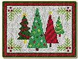 Kit De Alfombra De Gancho Patrón Bordado Punto De Cruz Cojín Kit De Herramientas Para Decoración Del Hogar -Arbol De Navidad 2(50 * 50Cm)