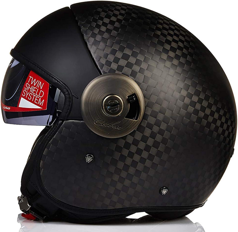 Harley Helmet Carbon Fiber Personality Helmet Retro Harley SemiHelmet Motorcycle Helmet Street Bike Racing Collision Helmet