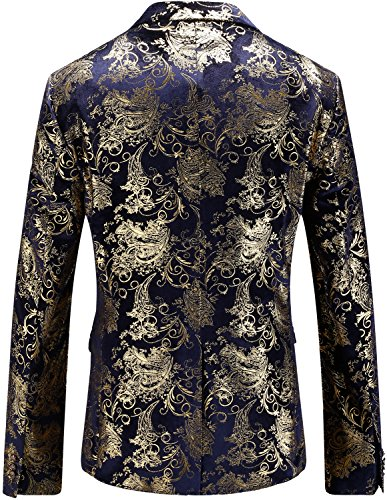 HENGAO Men's Casual Glitter Suit Stylish Slim Fit Blazer Jacket