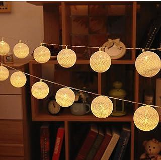 comprar comparacion ELINKUME Bola de algodón cuerda ligera 3,3M 20LED blanco cálido linterna luz de hadas bateria cargada luces decorativas pa...