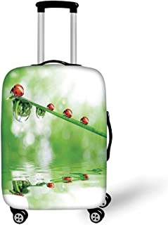 Travel Luggage Cover Suitcase Protector,Sky Blue Eighty Image on Colorful Polka