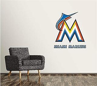 Etiqueta de la pared de los Miami Marlins Logotipo del equipo de béisbol Signo Decoración de la pared Logotipo de la MLB Etiqueta Vinilo