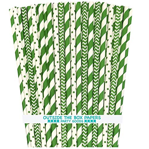 Green Stripe Paper Straws - Stripe Chevron Dot - 7.75 Inches - Pack of 100 - Outside the Box Papers Brand