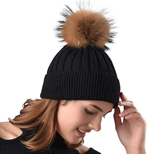 40bfbf0118a Womens Winter Knit Beanie Hats Real Fur Pom Cashmere Blended Skull Cap Ski  Hat