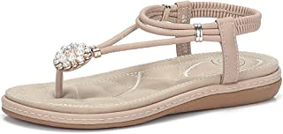 CAMEL CROWN Women's T Strap Flat Sandals Comfortable Thong Sandals with Pearl Buckle Jeweled Slingback Sandals with Low Wedge