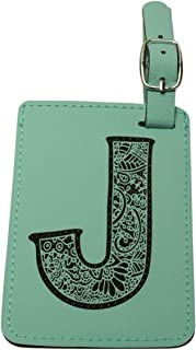 Luggage Tag Initial-Engineered Leather,Individual Letters-Personalized Luggage Tags (J)