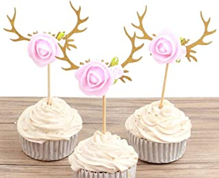 Hongkai 12pcs Reindeer Antlers Flowers Cake Cupcake Toppers Picks for Christmas Wedding 1st Birthday Boy Girl Baby Shower Gender Reveal Happy Birthday Party Decorations Supplies