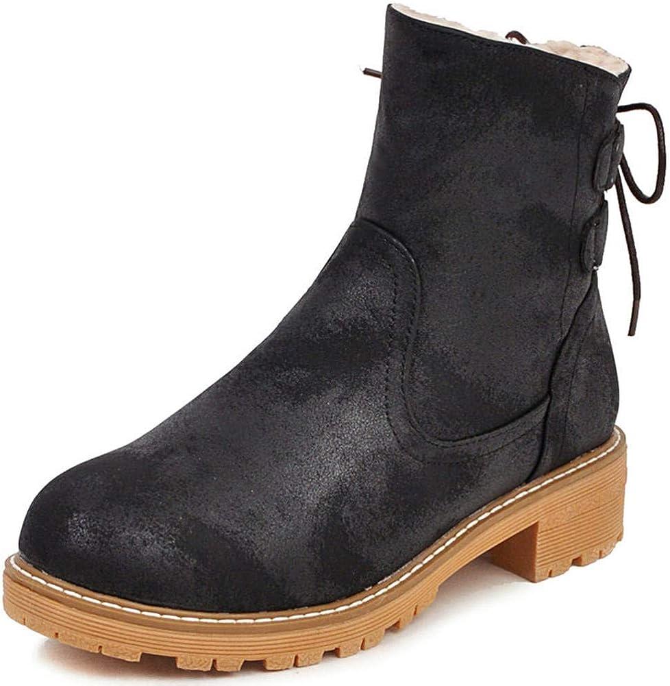 Vimisaoi Women's Ankle Snow Boots Slip On Chunky Low Heel Warm Fur Winter Short Outdoor Booties