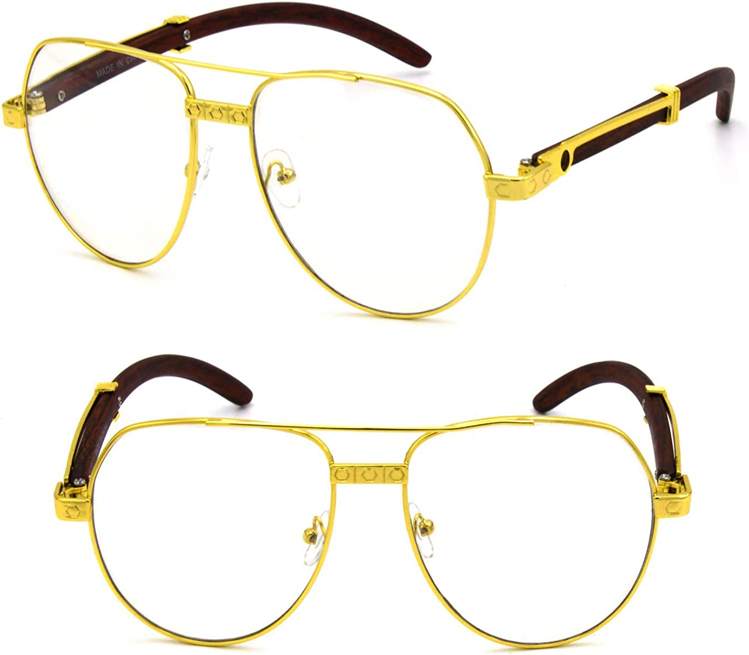 - For Men's gold gold gold color Wood Effect Metal Frames UV 400 Retro Eye Clear Lens Glasses b6fd1d