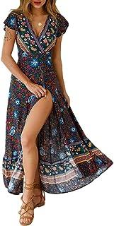 Byinns Floral Maxi Dress for Women Midi Wrap Dress Bohe Ruffle SummerCasual Dresses for Beach Party