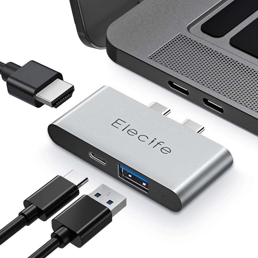 Elecife Thunderbolt 3 USB C Hub 3 in 2 Adapter for MacBook, Compatible with MacBook Pro/Air 2020 2019 2018, 100W Power Delivery, 4K HDMI, USB C 3.0 Data Port for MacBook Pro Accessories