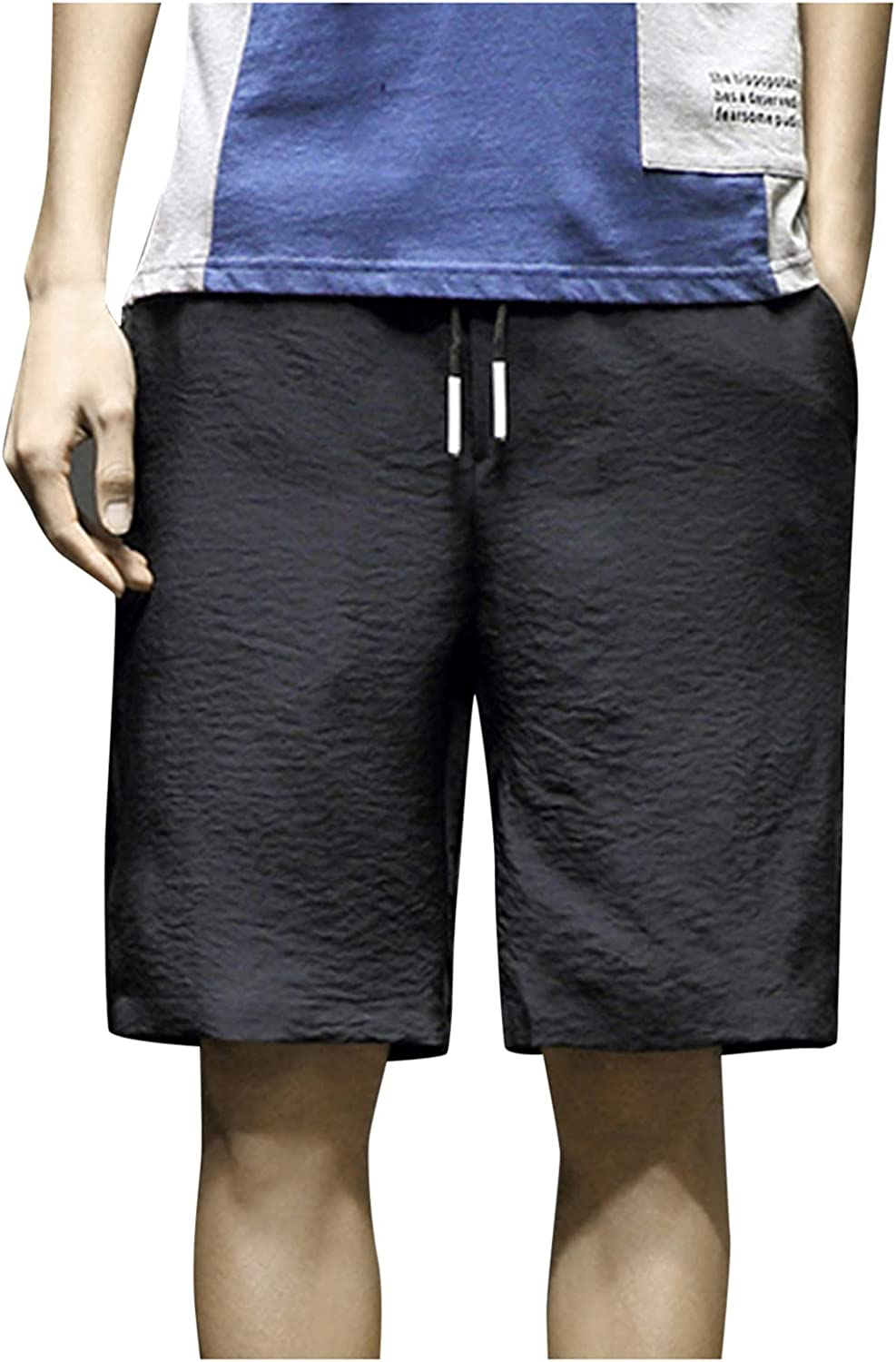DIOMOR Fashion Ourdoor Shorts for Men 9 Inch Inseam Drawstring Cargo Shorts Pure Color Beach Trunks Elastic Waist Pants