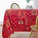 Viste tu hogar Mantel con Hilo Dorado, 140 x 250 CM, Especial para Decoración de Hogar con Diseño de Corazones, Ideal para Cenas Familiares, Cumpleaños etc, Color Rojo, Fabricado en España