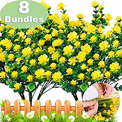 TURNMEON Artificial Flowers Outdoor, 8 Bundles Faux Flowers Plants Outdoor UV Resistant Greenery Shrubs Plants Artificial Fake Flowers Indoor Outside Hanging Planter Home Garden Decor(Yellow)