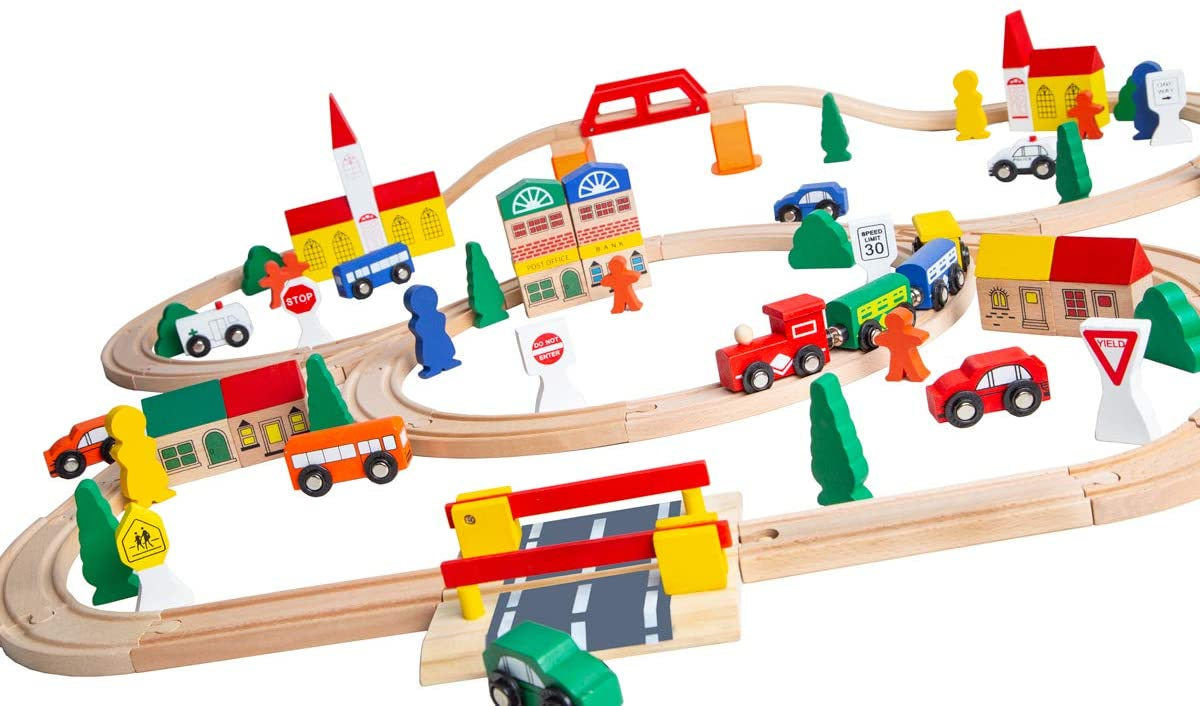 100-Piece Orbrium Toys Max 80% OFF Triple-Loop Limited price Wooden Fits Set Thomas Train