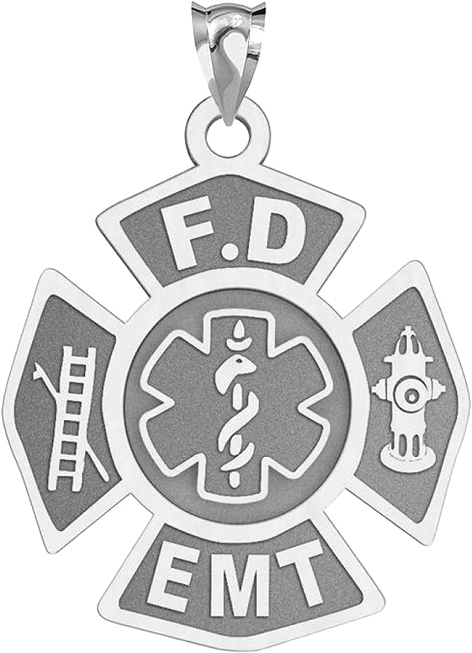 PicturesOnGold.com Firefighter EMT Badge - 4 Inch Colorado Springs Mall 3 Max 45% OFF X