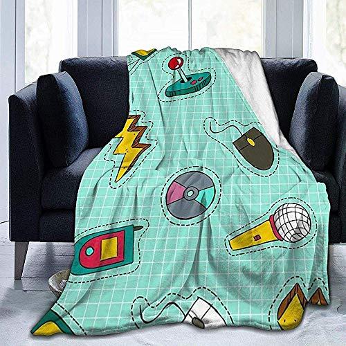 Flanel pluche Best Throw Blanket, microfoon muziek walkie-talkie muis prefix joystick in een celworp voor picknick, antistatisch
