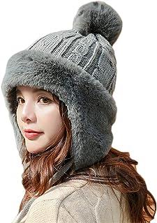 [バンプー] ポンポン ニット帽 レディース ニットキャップ 帽子 耳あて付 手編み 防寒 スキー スノボ ケーブル編み おしゃれ 小顔効果 暖かい かわいい