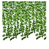 SMALUCK 24 Pack 168 Ft Artificial Ivy Garland Fake Ivy Vine Hanging Plant for Wedding Garland Fake Foliage Flowers Home Kitchen Garden Office Wedding Wall Decor (24 Pack)