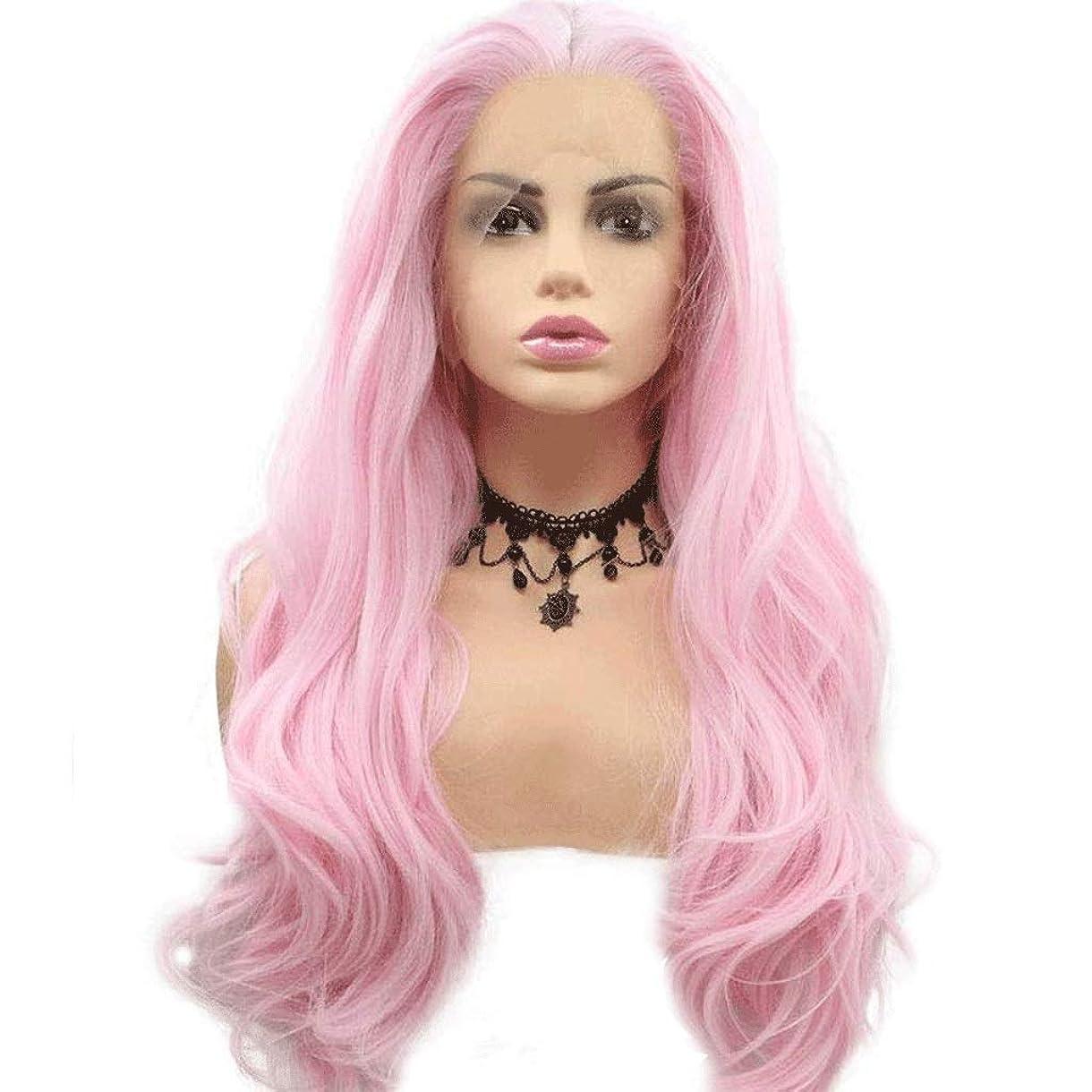 遡る振る動詞ウィメンズピンクロングナチュラルカーリーレースフロント合成かつら、180%密度、ナチュラルヘアライン、レディースパーティー用、コスプレ、コスチューム毎日の交換24インチ (色 : Body pink)