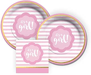 CR Gibson It's A Girl! Dessert Paper Plates and Beverage Napkins, Bundle- 3 Items