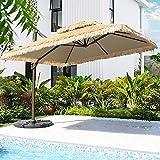 WGFGXQ Paraguas Tiki de Patio de Paja de 2,5x2,5 m, sombrilla de Roma con compensación de Patio, sombrilla Colgante en voladizo, toldo para jardín, toldo, Refugio