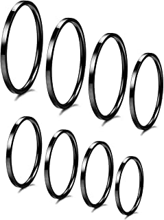 IFUAQZ 8pcs 1MM Thin Stainless Steel Knuckle Midi Stacking Rings for Women Girls Plain Band Comfort Fit