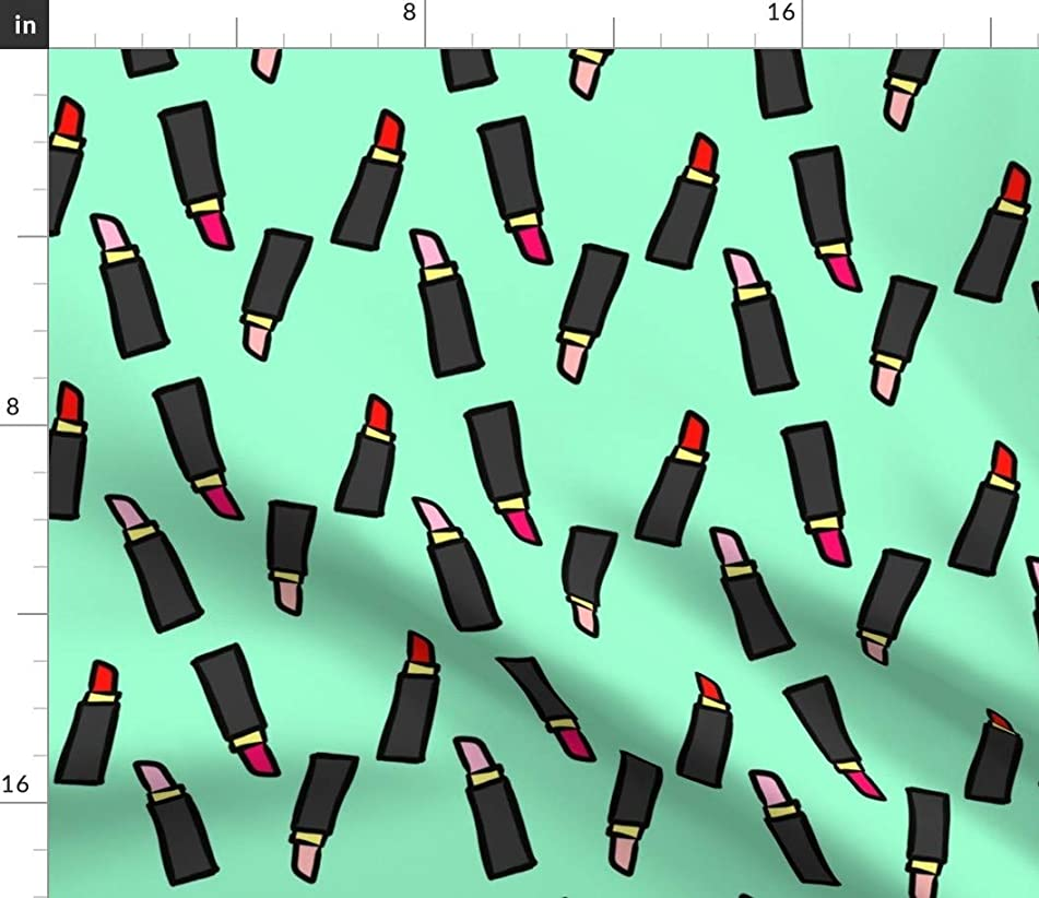 Spoonflower Lipstick Fabric - Makeup Kiss Lips Art Paint Cosmetic by Cozyreverie Printed on Eco Canvas Fabric by The Yard