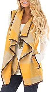 yokamira Womens Casual Lapel Open Front Plaid Vest Cardigan Coat with Pockets