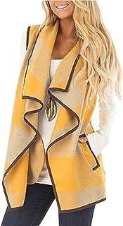 Yokamira Womens Casual Lapel Open Front Plaid Vest Cardigan Coat with Pockets
