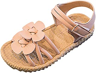 WINJIN Sandales Enfant Fille Ete Chaussures Bébé Premier Pas Velcro Sandales Princesse Plage Chaussures Souples Fleur Roma