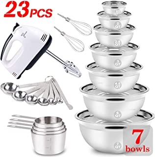 23PCS Mixing Bowls Set Stainless Steel Metal Electric Hand Mixer Bowl Measuring Cups and Spoons Sets Bread Cake Cookies Baking Prepping Kitchen Supplies Tools for Starter & Beginner