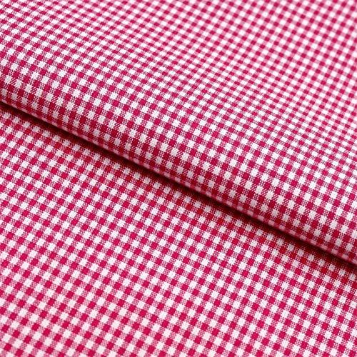 Hans-Textil-Shop Stoff Meterware Vichy Karo 2x2 mm Baumwolle - Für Landhaus, Deko, Nähen oder Basteln (Pink)