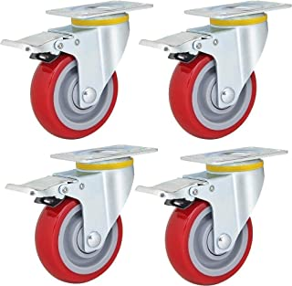 Pack van 4 Swivel Meubelwielen Heavy Duty Rood Polyurethaan Schuim Industriële Caster Load 420 kg/1000 lbs voor Trolley We...