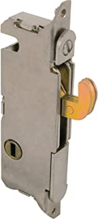 "Prime-Line E 2013 Mortise Lock - Adjustable, Spring-Loaded Hook Latch Projection for Sliding Patio Doors Constructed of Wood, Aluminum and Vinyl, 3-11/16"", Vertical Keyway, Round Face"