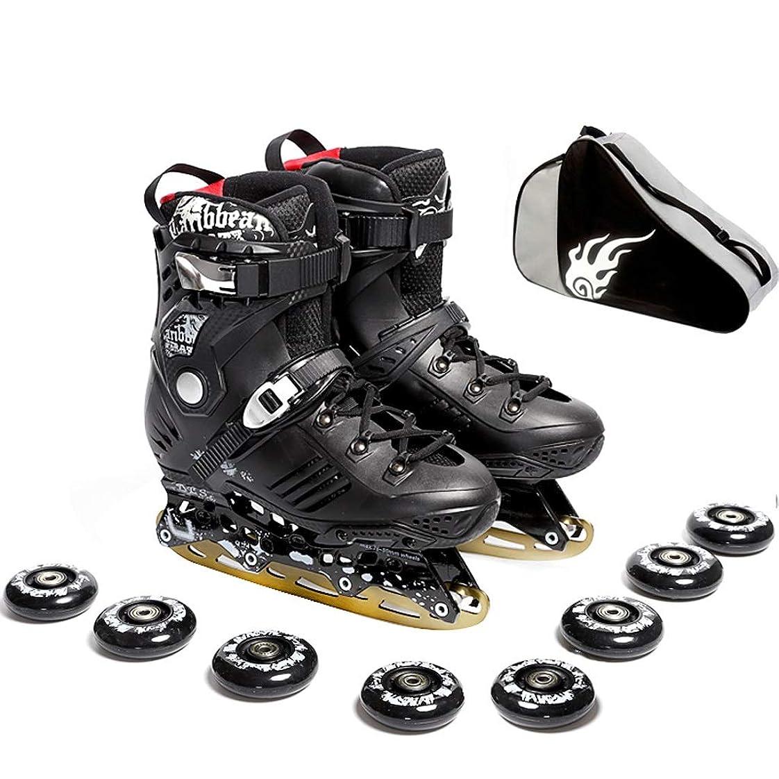 哲学怪物全員インラインスケート インラインスケート大人用初心者向けスピードスケート靴、ダブルショックアブソーバーデザイン、快適で ローラースケート (Color : A, Size : EU 41/US 8/UK 7/JP 25.5cm)