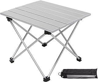 Moon Lence折りたたみテーブル ロールテーブル アルミ製 コンパクト アウトドア キャンプ ハイキング 耐荷重23kg 収納ケースつき シルバー