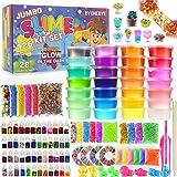 126 Pcs DIY Slime Making Kit for Girls Boys - Birthday Idea for Kids Age 5+. Ultimate Fluffy Slime Supplies Include 28 Crystal Slime, 2 Glow in The Dark Powder, 48 Bottle Glitter Jar etc.