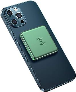 5000mAH QI Trådlös laddare Power Bank, USB PD Snabb laddning PowerBank Portable Extern batteriladdare för telefon,Green