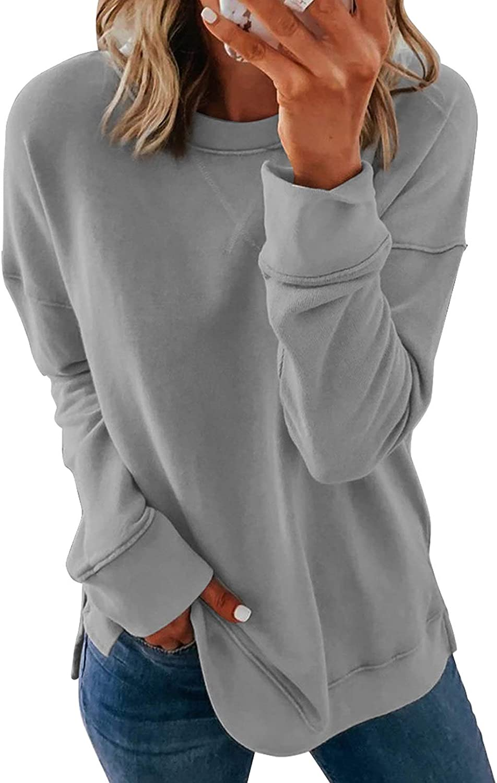 Dokotoo Women's Casual Crew Neck Sweatshirt Loose Soft Long Sleeve Pullover Tops