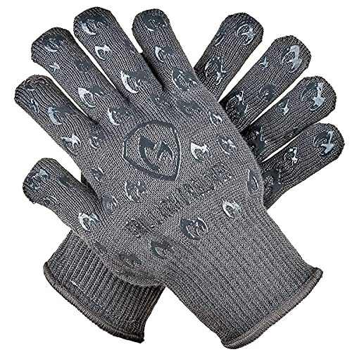 Grill Armor Oven Gloves - Extreme Heat Resistant EN407 Certified 1472℉ - Cooking Mitts for BBQ, Grilling, Baking, Camping, Fire Pit, Cast Iron, Smoker, Pizza & More - Indoor & Outdoor - Grey