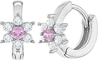 925 Sterling Silver Clear Pink CZ Tiny Baby Girls Flower Hoop Huggie Earrings 0.27