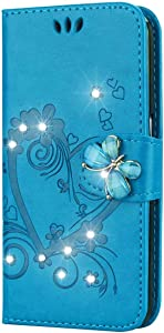 Bear Village  Case Compatible with Samsung Galaxy Mini  Leather Full Body Protective Cover with Credit Card Slot  Magnetic Closure and Kickstand Function  Blue
