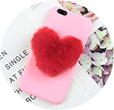 Furry Love Hearts Cute Hair Phone Case for LG K8 2017 Cases for LG K4 2018 K10 G5 G6 G7 Q6 K30 Aristo 2 Plus V30 Phone Cover,BigRedLove Pink,for LG G5