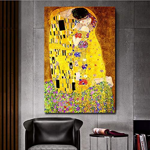 Impression sur toile Portrait Abstrait Gustav Klimt Kiss Figure Peinture à l'huile Art Scandinave Posters et Impressions Bureau Chambre Café Décoration avec cadre